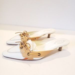 Tod's Made in italy 37.5 kitten heel white and tan